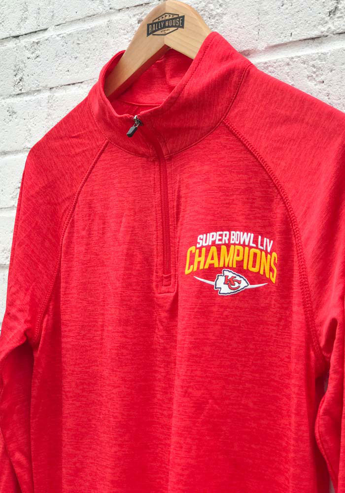 Kansas City Chiefs Mens Red Super Bowl LIV Champions Replay Long Sleeve 1/4 Zip Pullover - Image 3