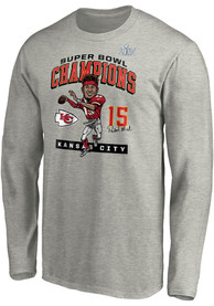 Kansas City Chiefs Super Bowl LIV Champions Play Action Caricature T Shirt - Grey