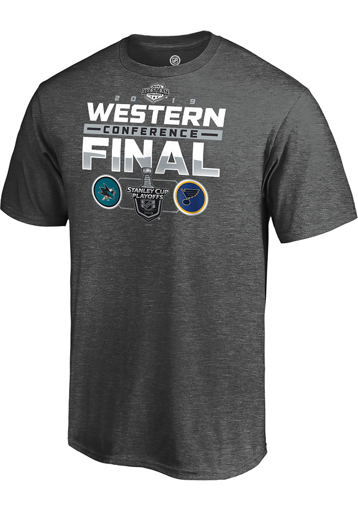 St Louis Blues Grey 2019 Conference Final Matchup Short Sleeve T Shirt - Image 1