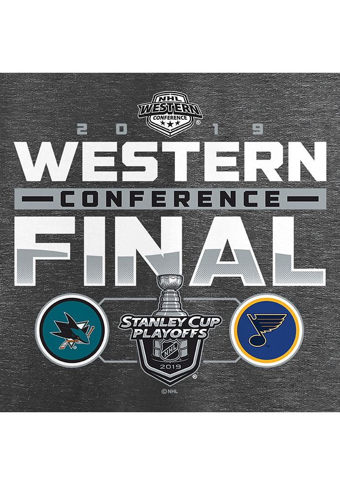 St Louis Blues Grey 2019 Conference Final Matchup Short Sleeve T Shirt - Image 3