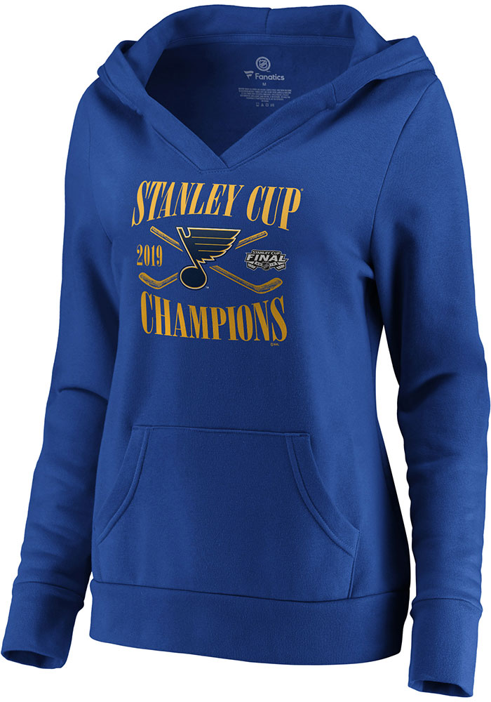 St Louis Blues Womens Blue 2019 Stanley Cup Champions Hooded Sweatshirt - Image 1