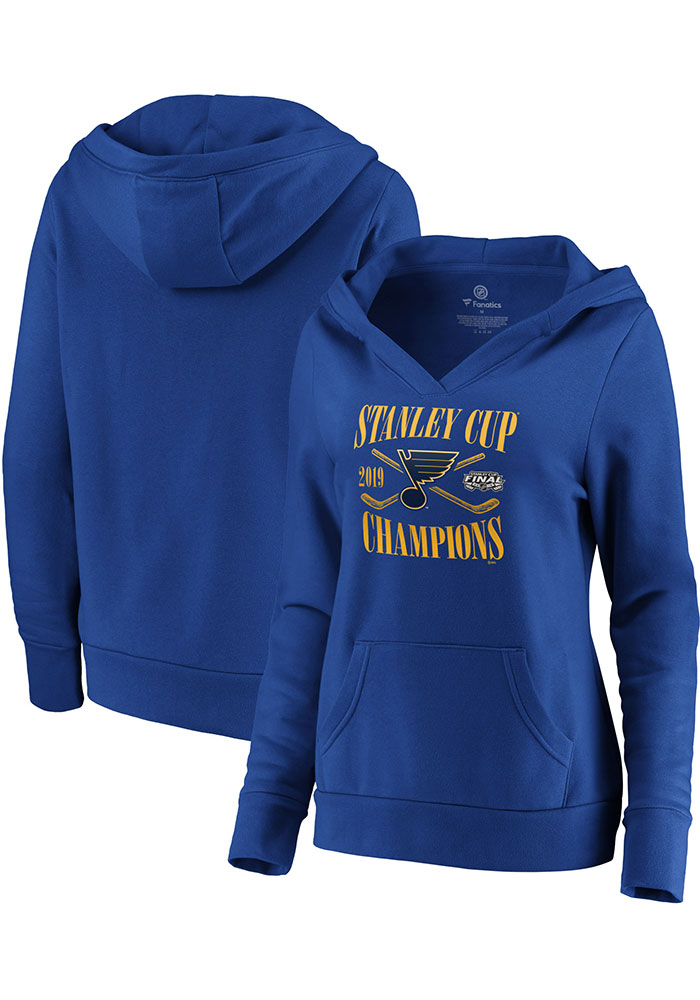 St Louis Blues Womens Blue 2019 Stanley Cup Champions Hooded Sweatshirt - Image 3