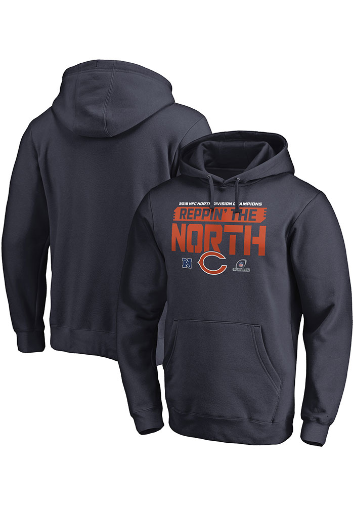 Chicago Bears Mens Navy Blue 2018 Division Champions Fair Catch Long Sleeve Hoodie - Image 1