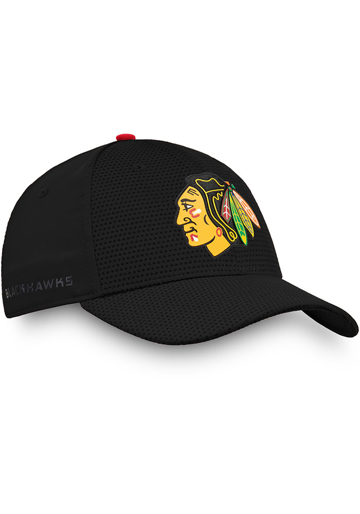 Chicago Blackhawks Mens Black 2019 Authentic Pro Rinkside Structured Flex Hat - Image 2
