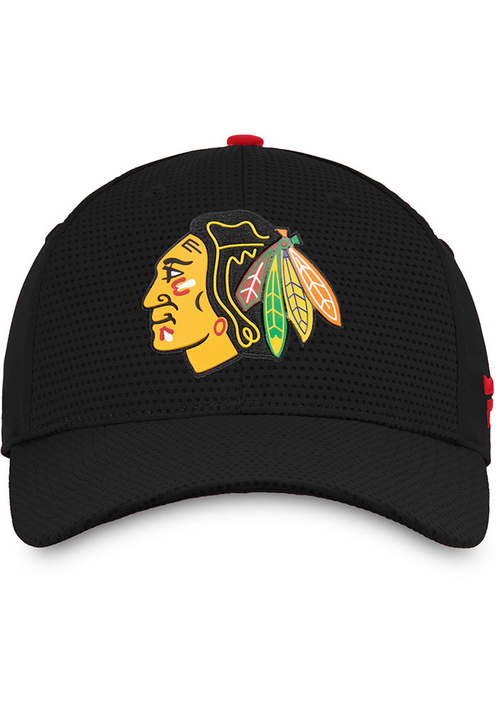 Chicago Blackhawks Mens Black 2019 Authentic Pro Rinkside Structured Flex Hat - Image 3
