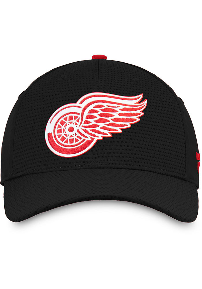 Detroit Red Wings Mens Black 2019 Authentic Pro Rinkside Structured Flex Hat - Image 3