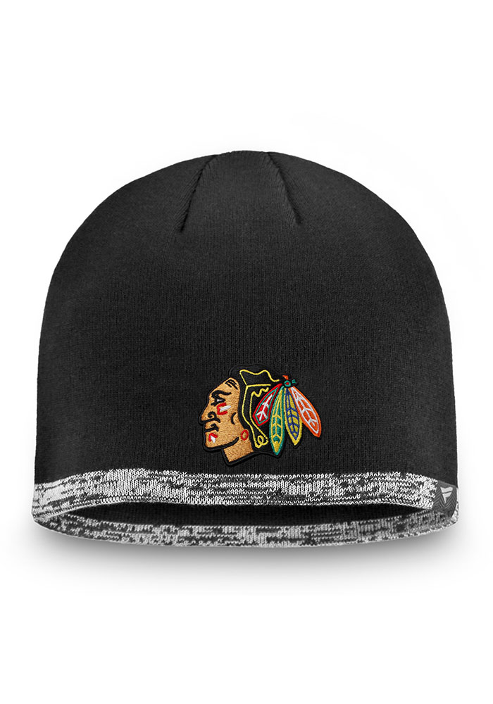 Chicago Blackhawks Black 2019 Authentic Pro Rinkside Beanie Mens Knit Hat - Image 1