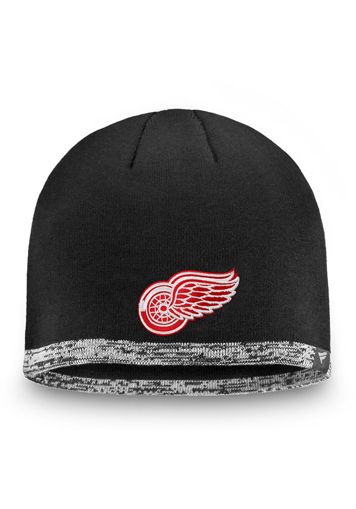 Detroit Red Wings Black 2019 Authentic Pro Rinkside Beanie Mens Knit Hat - Image 1