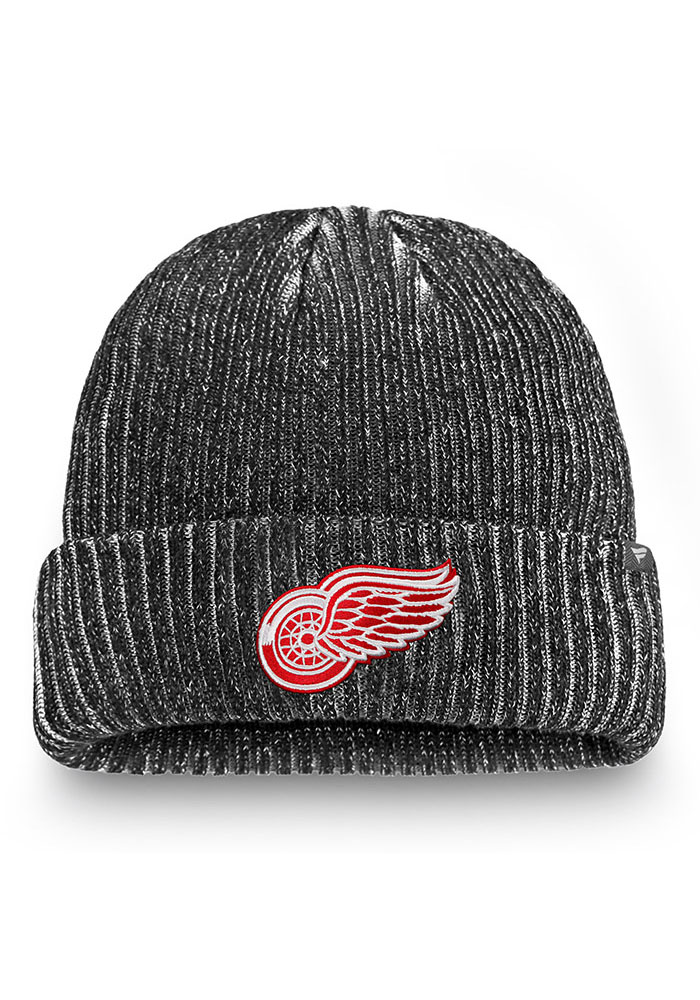 Detroit Red Wings Black 2019 Authentic Pro Rinkside Cuff Mens Knit Hat - Image 1