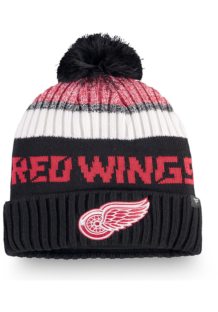 Detroit Red Wings Black 2019 Authentic Pro Rinkside Goalie Cuff Mens Knit Hat - Image 1