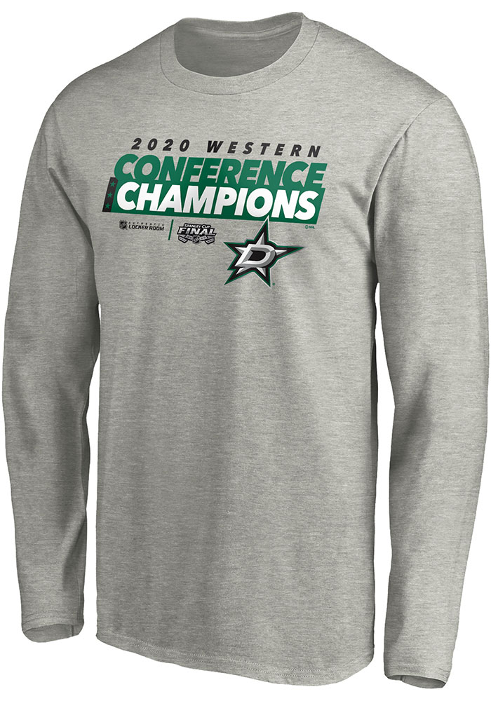 Dallas Stars Grey 2020 NHL Conference Champs Locker Room Long Sleeve T Shirt - Image 1