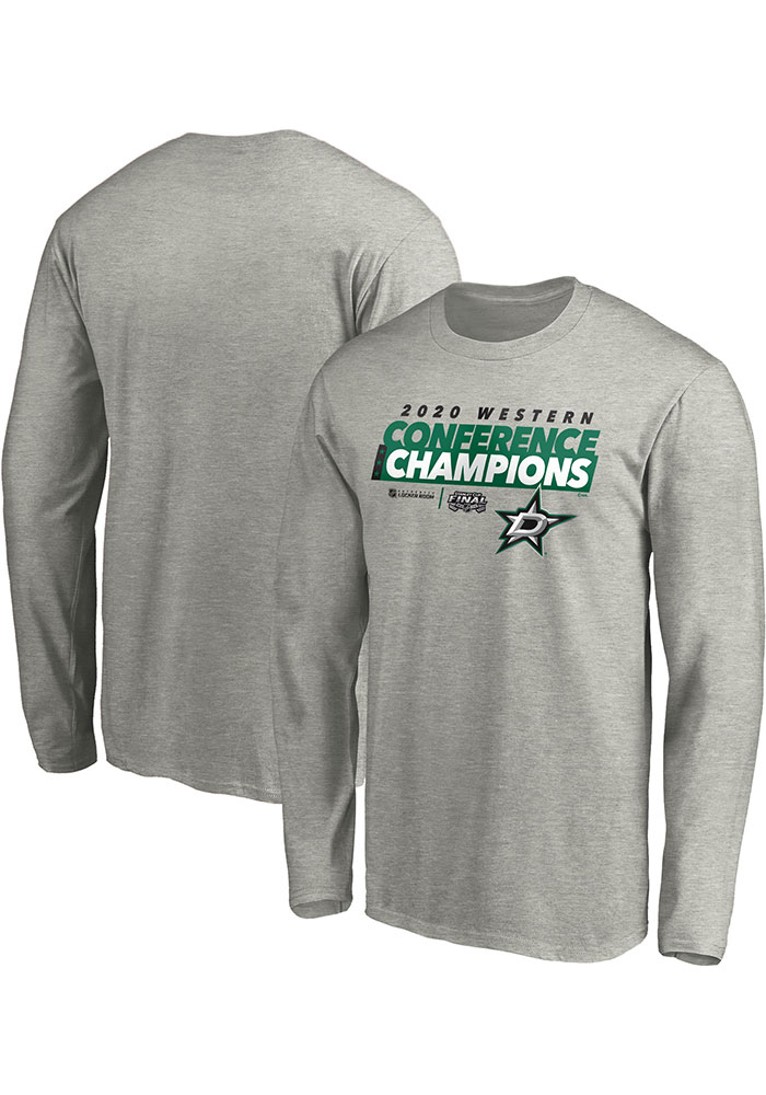 Dallas Stars Grey 2020 NHL Conference Champs Locker Room Long Sleeve T Shirt - Image 3