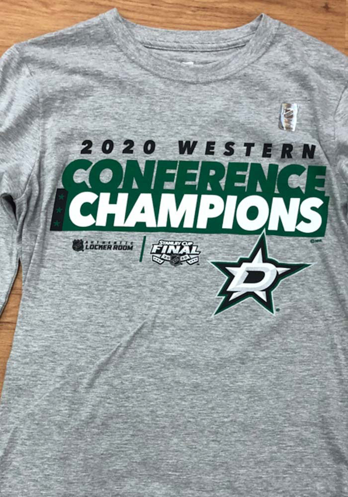 Dallas Stars Grey 2020 NHL Conference Champs Locker Room Long Sleeve T Shirt - Image 4