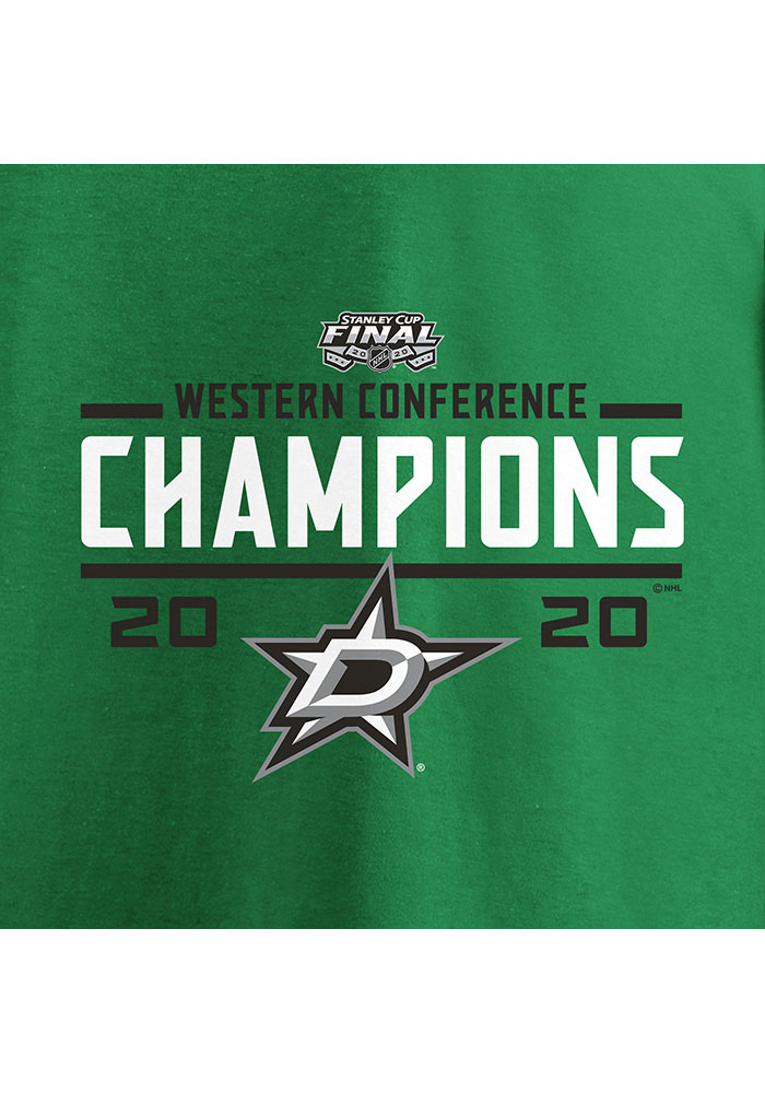 Dallas Stars Kelly Green 2020 NHL Conference Champs Wreak Havoc Short Sleeve T Shirt - Image 3