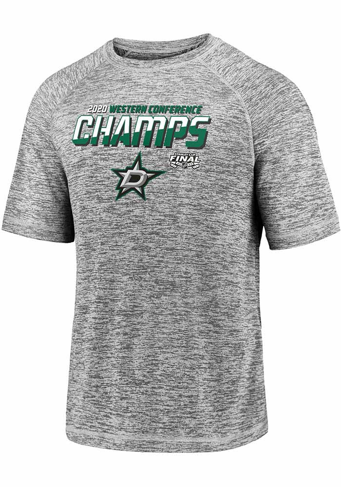 Dallas Stars Grey 2020 NHL Conference Champs Blue Line Short Sleeve T Shirt - Image 1