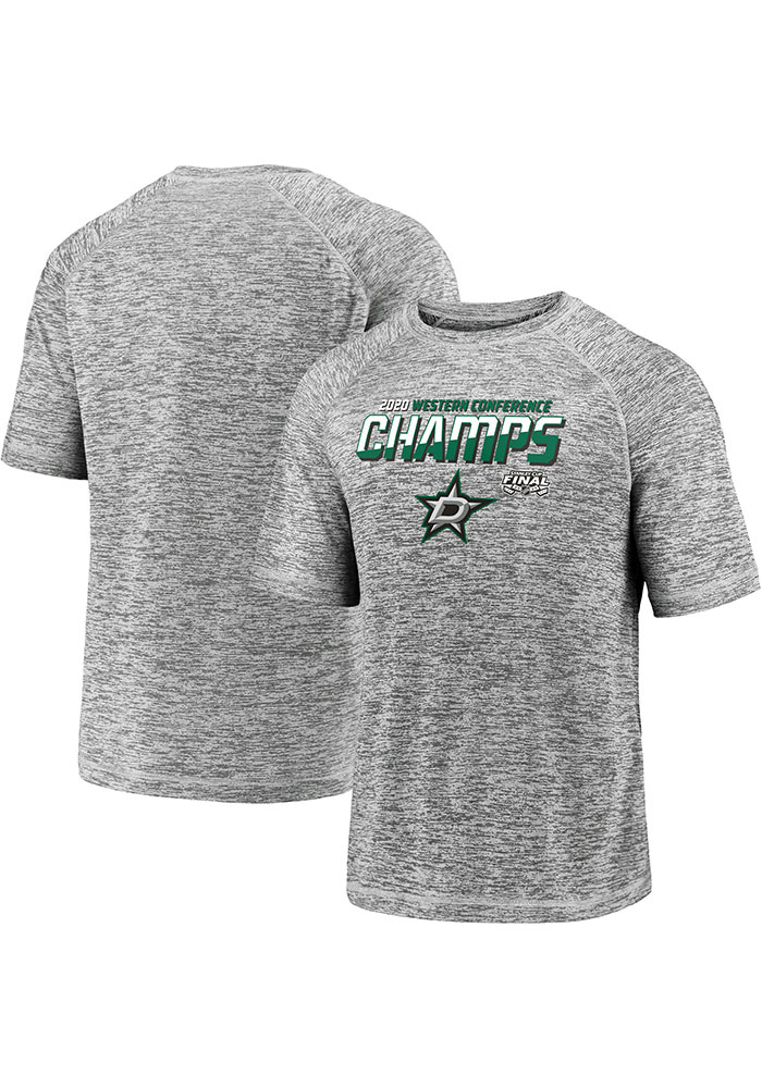 Dallas Stars Grey 2020 NHL Conference Champs Blue Line Short Sleeve T Shirt - Image 3
