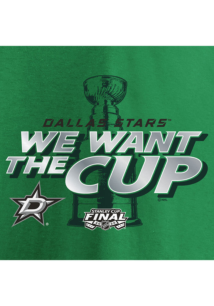 Dallas Stars Kelly Green 2020 Stanley Cup Final Participant We Want the Cup Short Sleeve T Shirt - Image 4