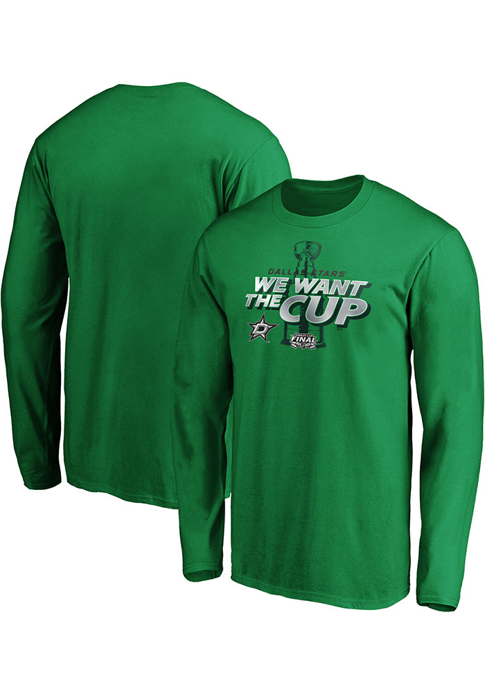 Dallas Stars Kelly Green 2020 Stanley Cup Final Participant We Want the Cup Long Sleeve T Shirt - Image 3