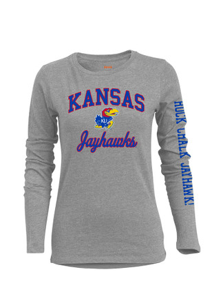 KU Jayhawks Womens BFF Big Logo Grey T-Shirt