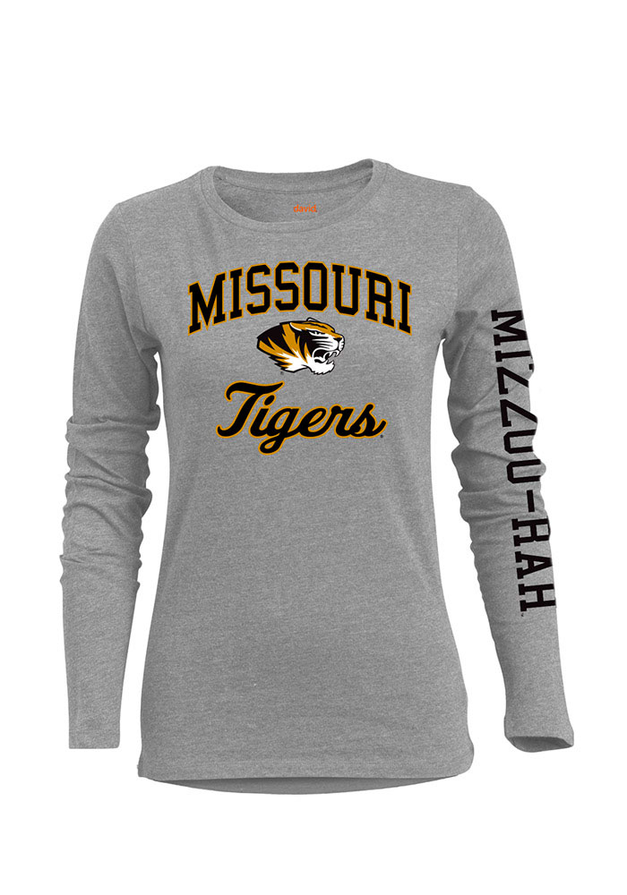 Missouri Tigers Womens Grey BFF Long Sleeve Crew T-Shirt 17300133
