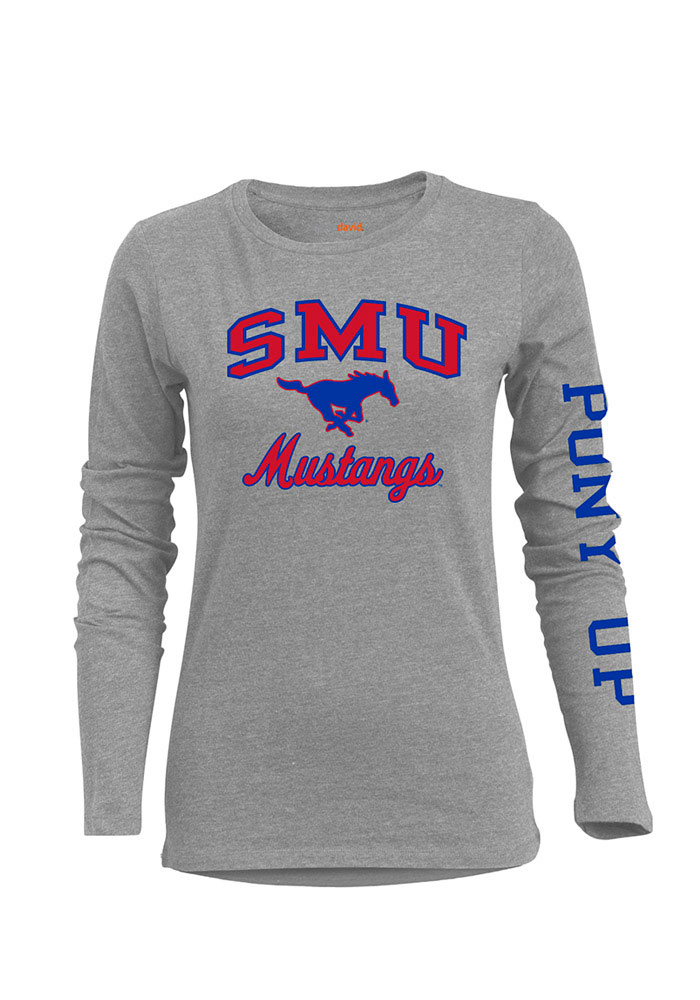 SMU Mustangs Womens Grey BFF Long Sleeve Crew T-Shirt - Image 1