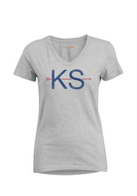 Kansas Womens Grey Arrow Initials Short Sleeve T Shirt