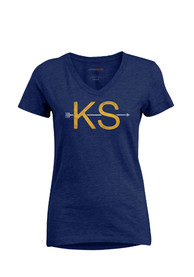 Kansas Womens Navy Blue Arrow Initials Short Sleeve T Shirt