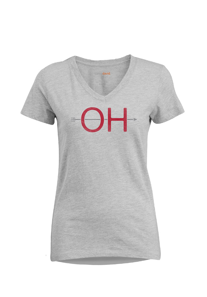 Ohio Womens Grey Arrow Initials Short Sleeve V-Neck T Shirt - Image 1