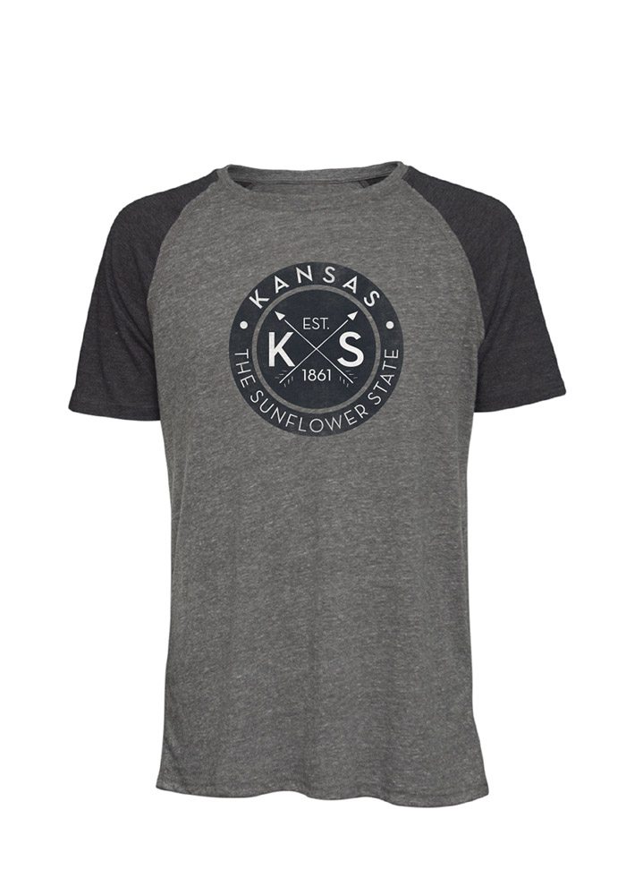 Kansas Grey Circle Graphic Short Sleeve Fashion T Shirt - Image 1
