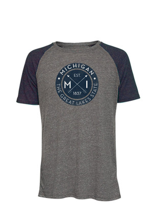 Great Lakes State charcoal Mens Circle Graphic Fashion Tee