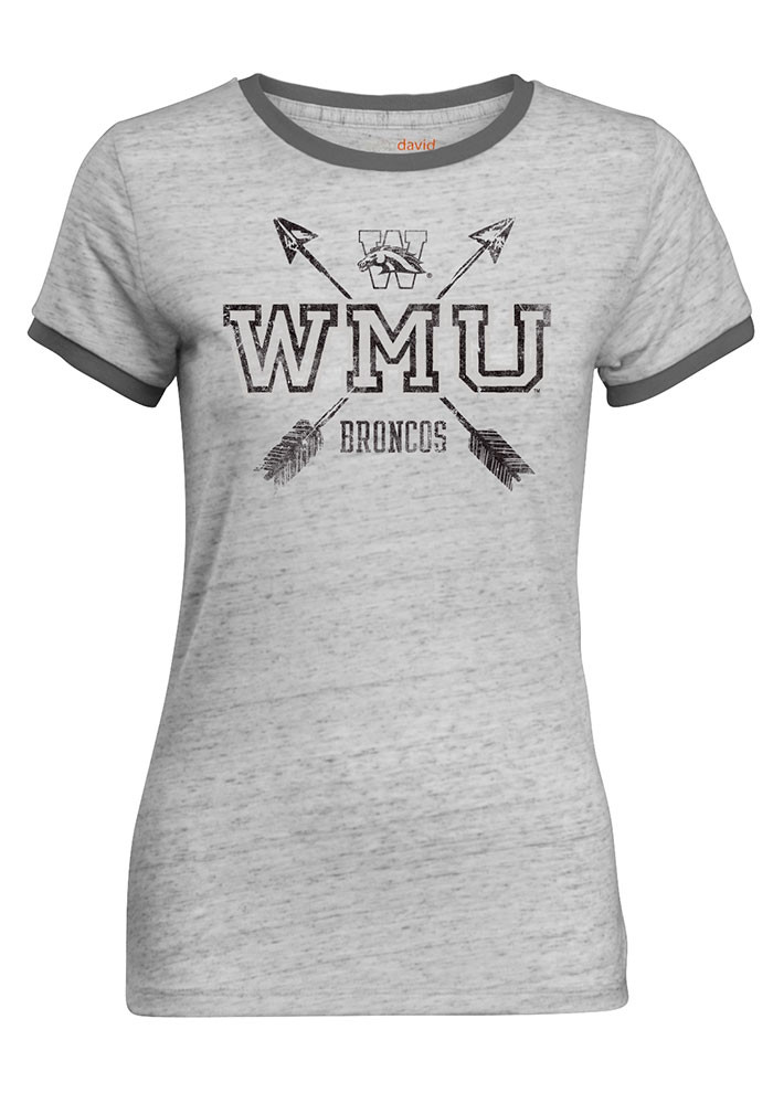 Western Michigan Broncos Juniors Grey Bestie Short Sleeve Crew T-Shirt - Image 1