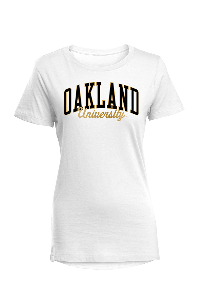 Oakland University Golden Grizzlies Womens White Bestie Short Sleeve T-Shirt - Image 1