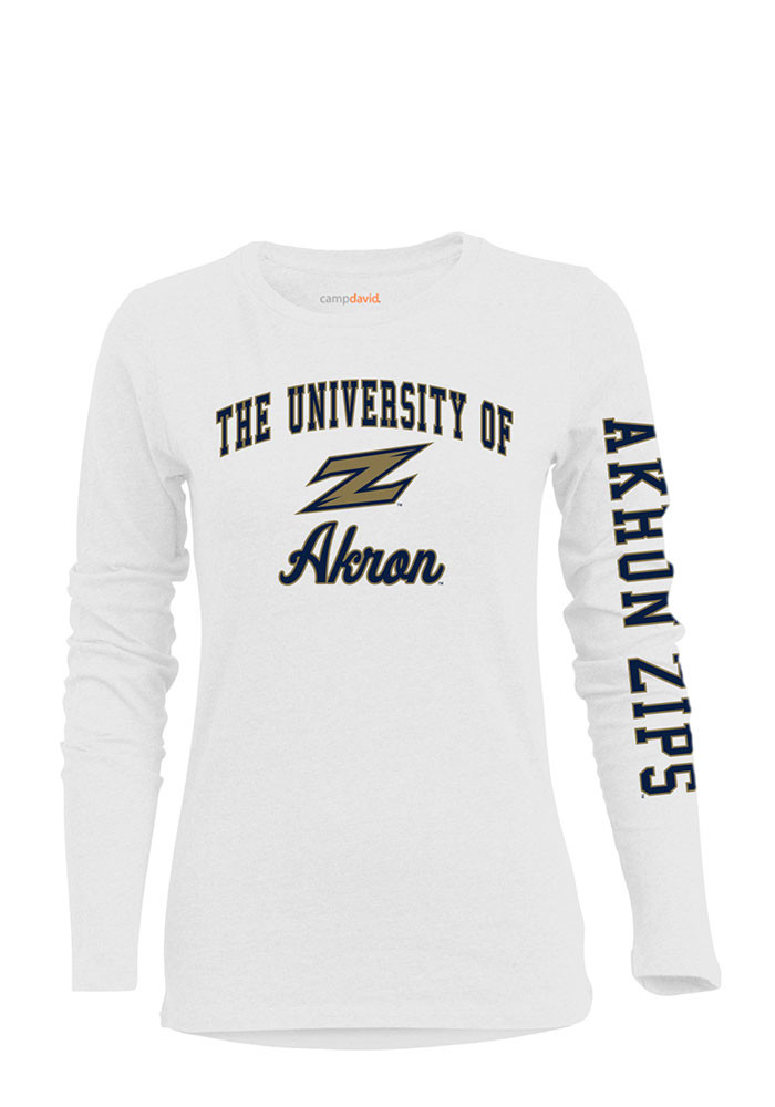 Akron Zips Womens White BFF Long Sleeve Crew T-Shirt - Image 1