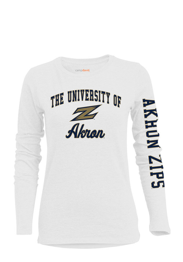 Akron Zips Womens White BFF Long Sleeve Crew T-Shirt - Image 2
