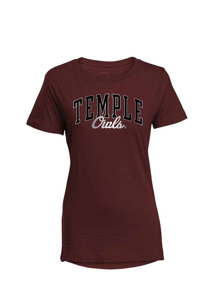 Temple Owls Womens Maroon Bestie Short Sleeve T-Shirt - Image 1