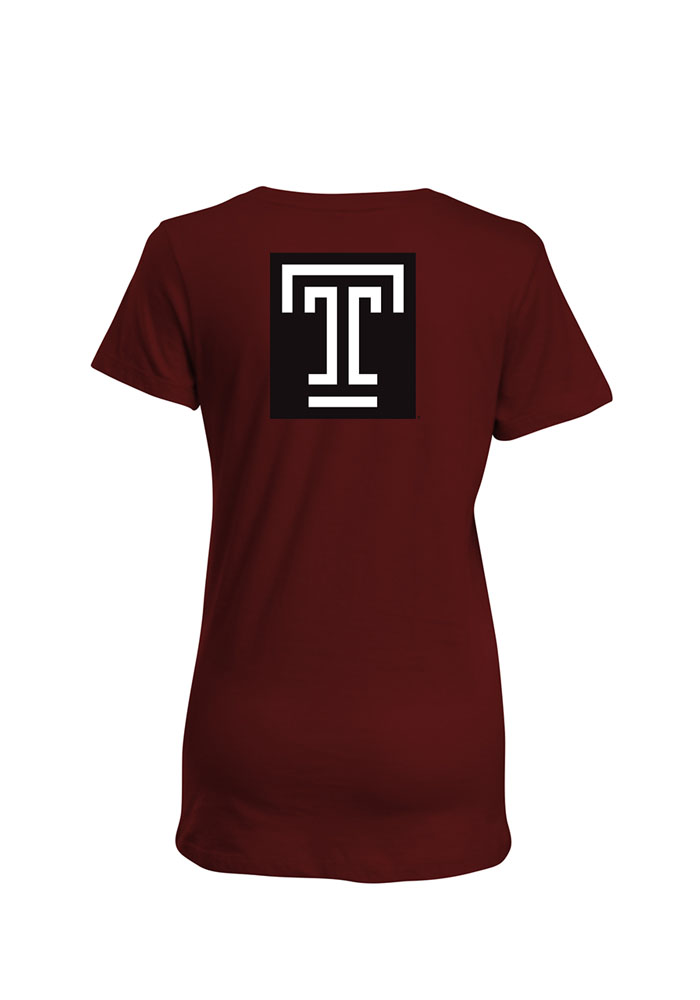 Temple Owls Womens Maroon Bestie Short Sleeve T-Shirt - Image 2