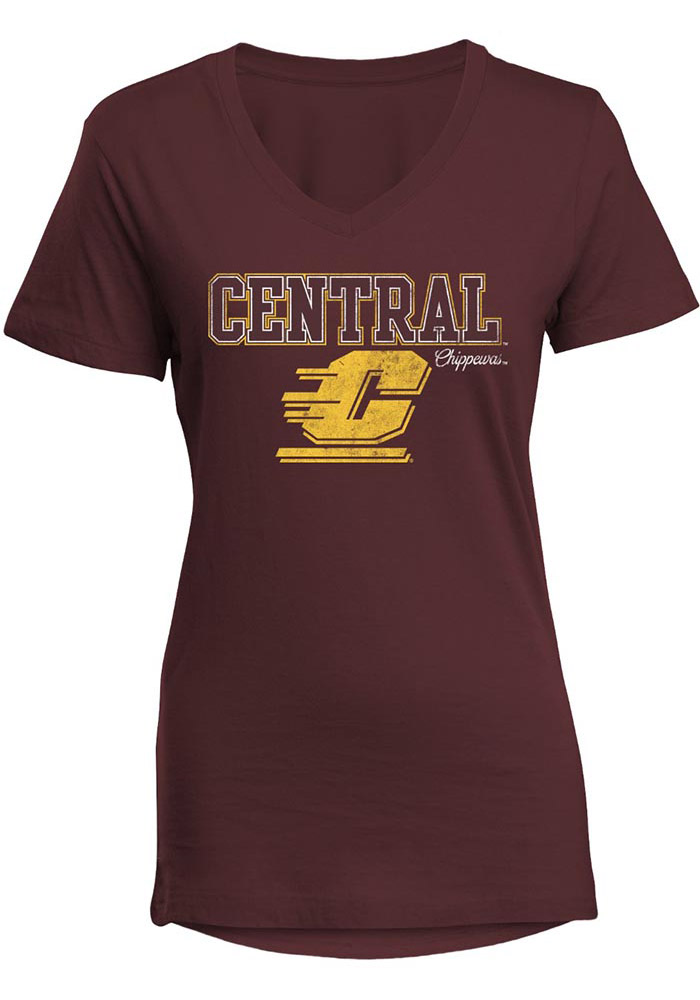 Central Michigan Chippewas Womens Maroon Diva V-Neck T-Shirt - Image 1