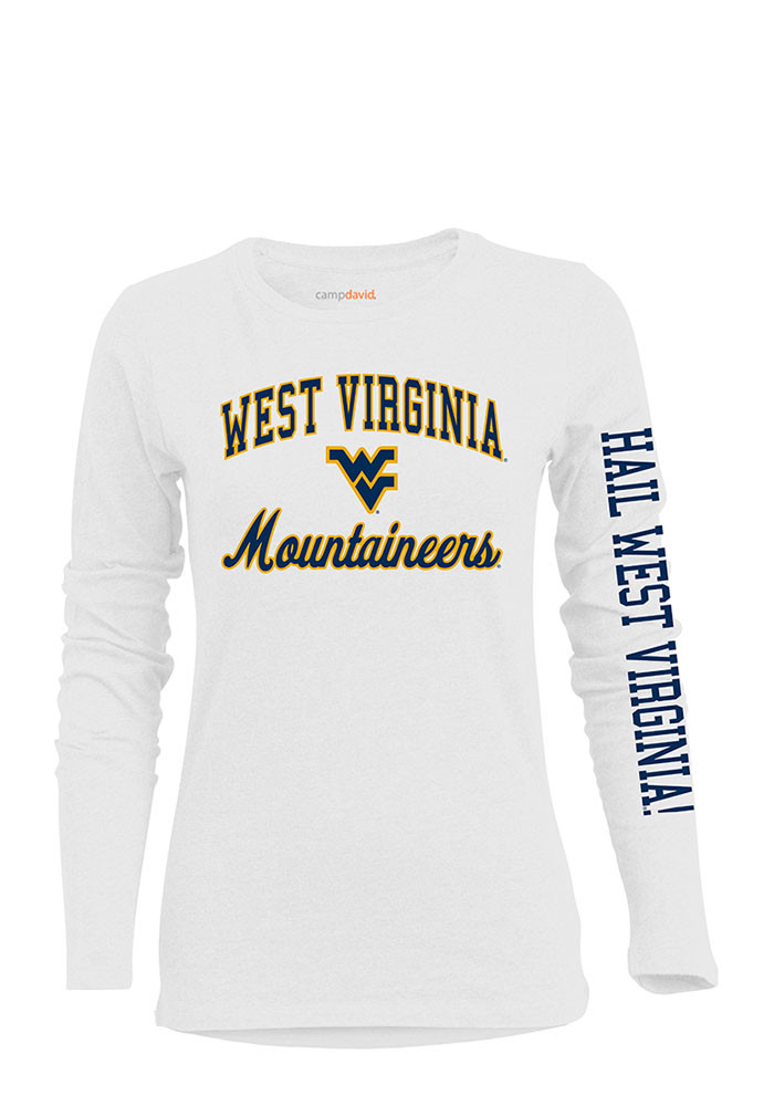 West Virginia Mountaineers Womens White BFF Long Sleeve Crew T-Shirt - Image 1
