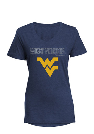 West Virginia Mountaineers Womens Navy Blue Diva V-Neck