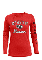 Wisconsin Badgers Womens Red BFF Long Sleeve Crew T-Shirt