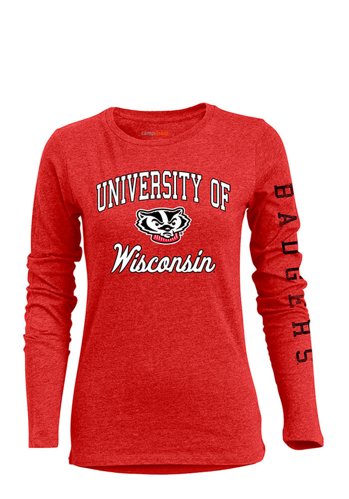 Wisconsin Badgers Womens Red BFF Long Sleeve Crew T-Shirt - Image 1