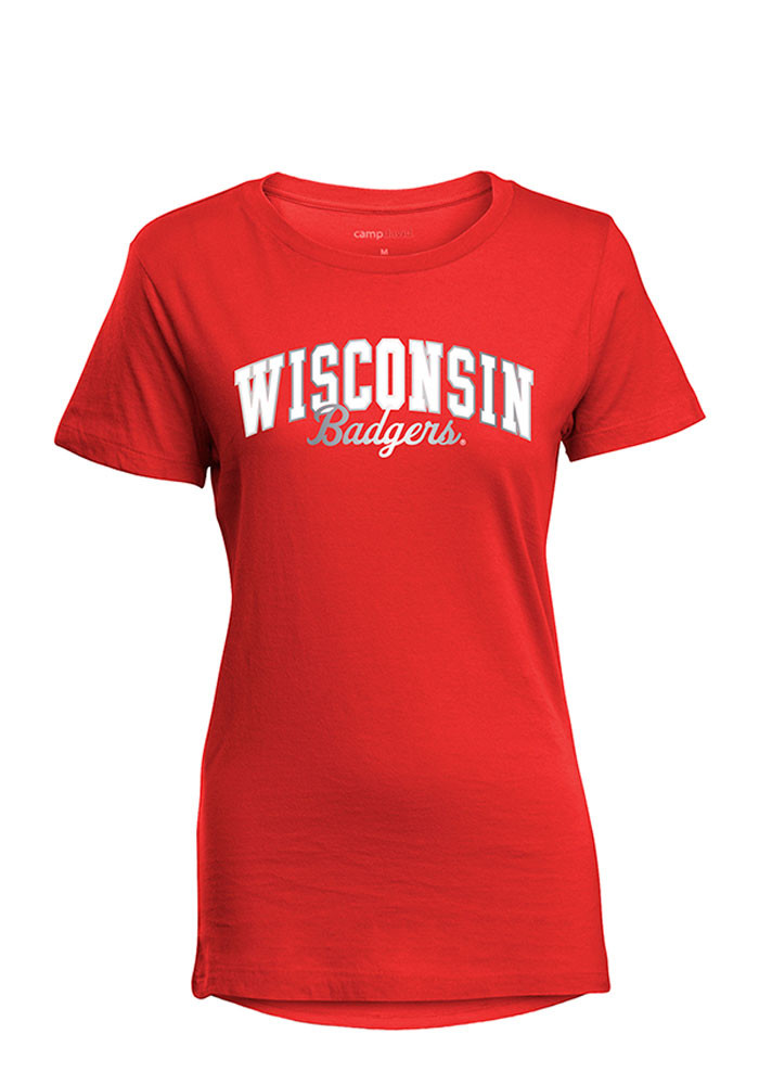 Wisconsin Badgers Womens Red Bestie Short Sleeve T-Shirt - Image 1