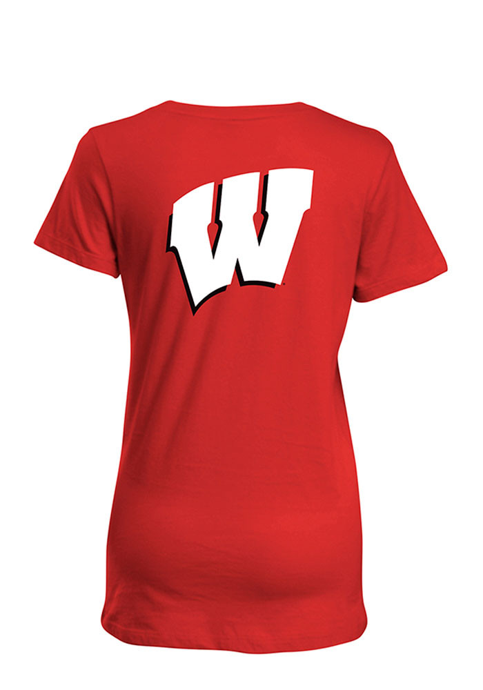 Wisconsin Badgers Womens Red Bestie Short Sleeve T-Shirt - Image 2