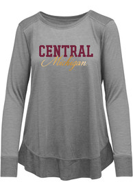 Central Michigan Chippewas Womens Rampage Scoop Neck T-Shirt - Grey