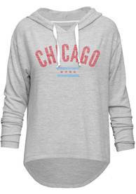 Chicago Women's Grey Flag Long Sleeve Light Weight Hood