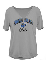 Grand Valley State Lakers Womens Dream Girl V-Notch T-Shirt - Grey