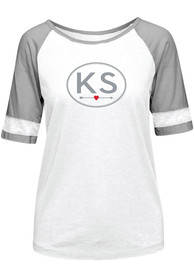 Kansas Womens White Circle Arrow Short Sleeve T Shirt