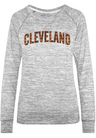Cleveland Womens Grey Plaid Long Sleeve Crew