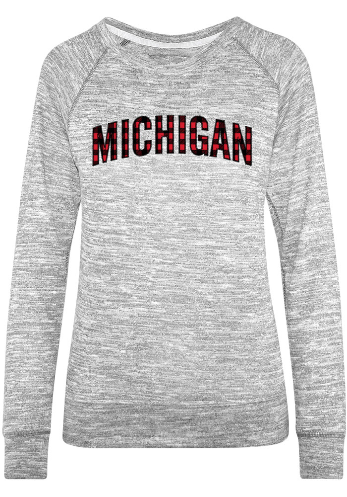 Michigan Womens Grey Buffalo Plaid Crew Sweatshirt - Image 1