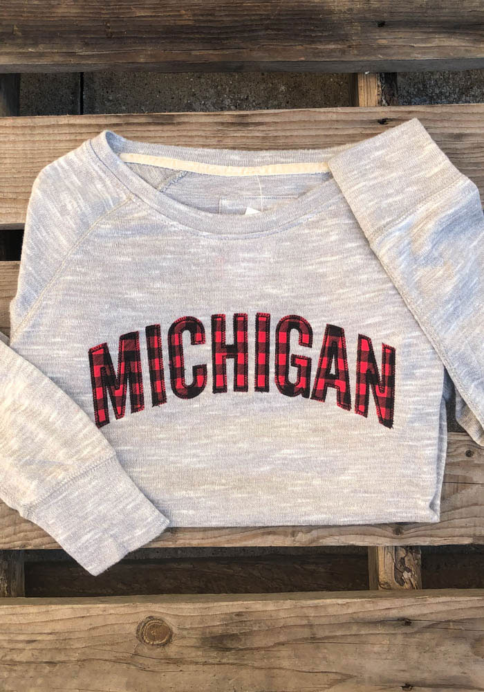 Michigan Womens Grey Buffalo Plaid Crew Sweatshirt - Image 2